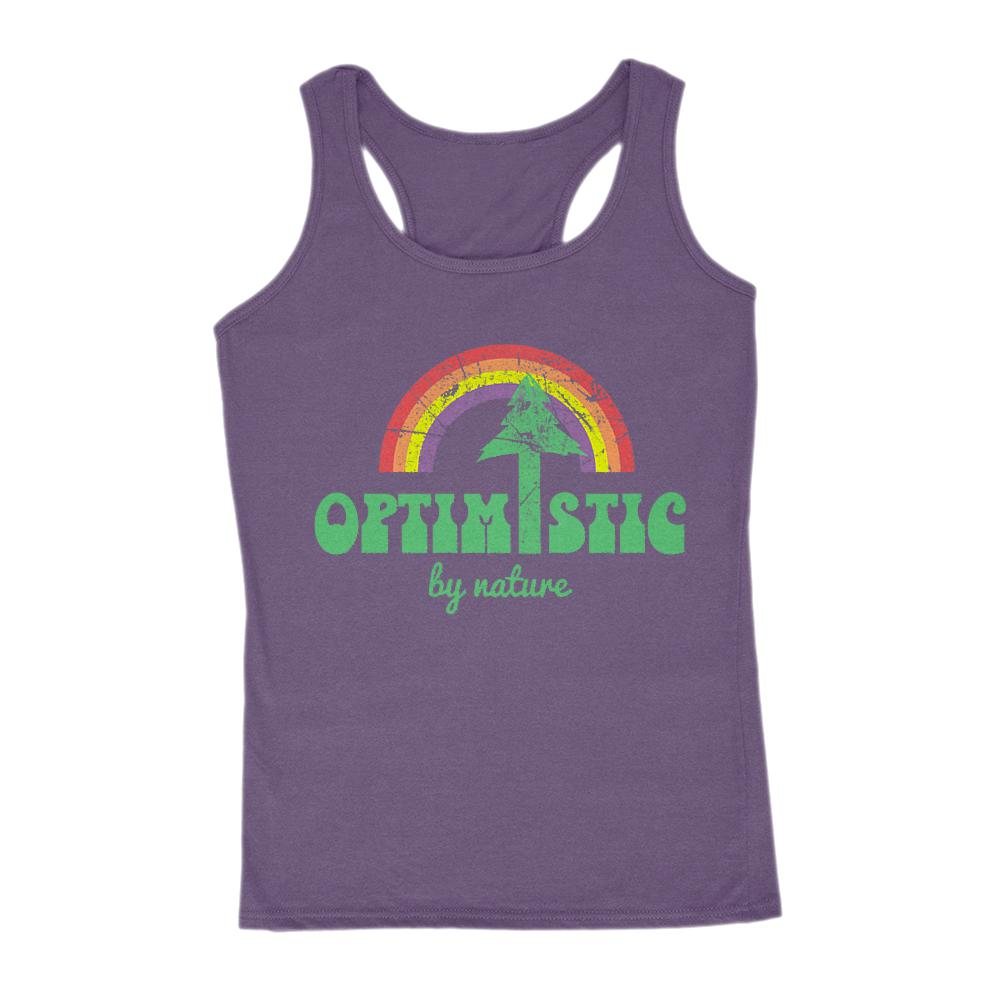 Optimistic by Nature Rainbow Retro Women's Tank Graphic T-Shirt Tee BOXELS