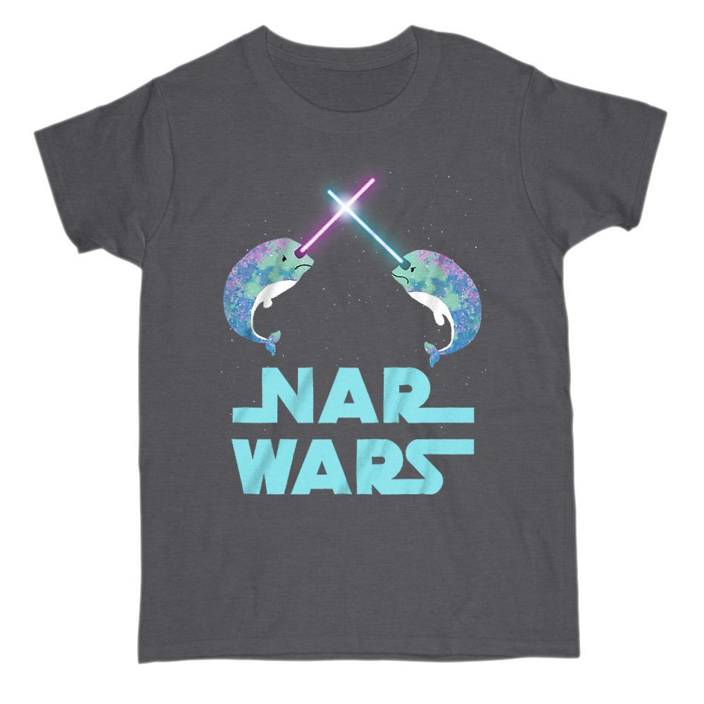 Original Nar Wars Narwhal Saber Light Space Star T-Shirt Graphic T-Shirt Tee BOXELS