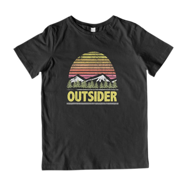 Outsider Outdoors Mountain Sunset Trees Grunge (kids) Tee Graphic T-Shirt Tee BOXELS