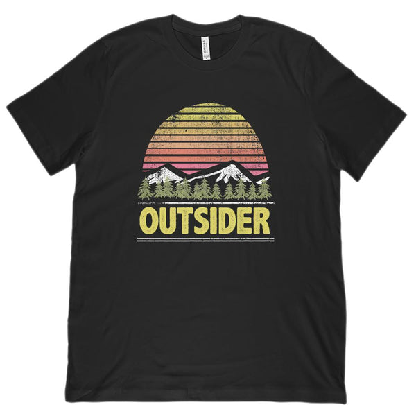 Outsider Sunset Mountain View (Unisex BC 3001 Soft Tee) Graphic T-Shirt Tee BOXELS