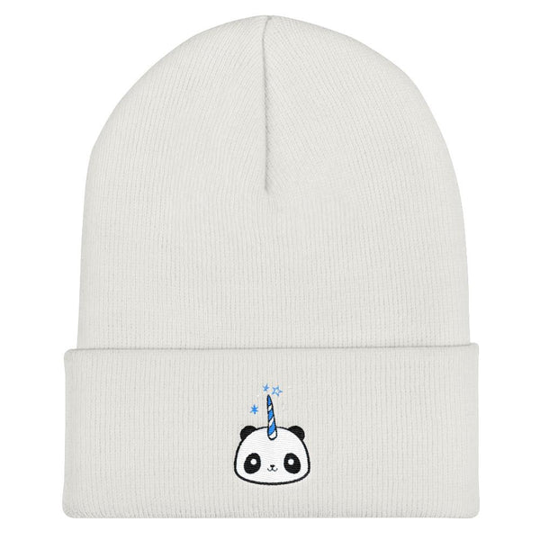 Pandacorn Cuffed Beanie (BWBl) - Magical Kawaii Panda Unicorn Rainbow Horn & Stars Cuteness Graphic T-Shirt Tee BOXELS