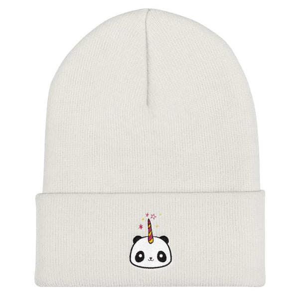 Pandacorn Cuffed Beanie (BWRY) - Magical Kawaii Panda Unicorn Rainbow Horn & Stars Cuteness Graphic T-Shirt Tee BOXELS