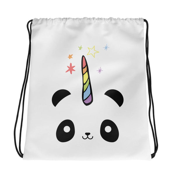 Pandacorn Drawstring bag - Magical Kawaii Panda Unicorn Rainbow Horn & Stars Cuteness Graphic T-Shirt Tee BOXELS