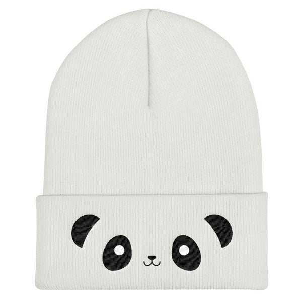 Pandacorn Face Cuffed Beanie - Magical Kawaii Panda Unicorn Rainbow Horn & Stars Cuteness Graphic T-Shirt Tee BOXELS