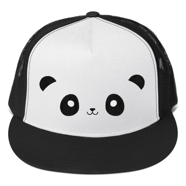 Pandacorn Face Trucker Cap - Magical Kawaii Panda Unicorn Rainbow Horn & Stars Cuteness Graphic T-Shirt Tee BOXELS