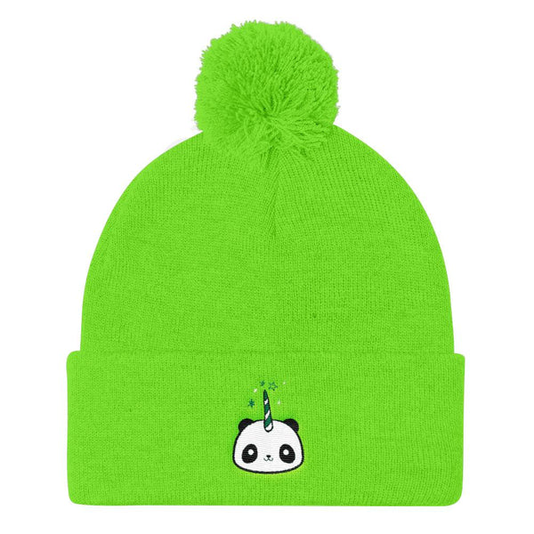 Pandacorn Pom Pom Knit Cap (Greens) - Magical Kawaii Panda Unicorn Rainbow Horn & Stars Cuteness Graphic T-Shirt Tee BOXELS