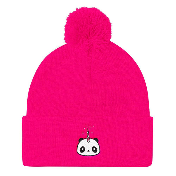 Pandacorn Pom Pom Knit Cap - Magical Kawaii Panda Unicorn Rainbow Horn & Stars Cuteness Graphic T-Shirt Tee BOXELS
