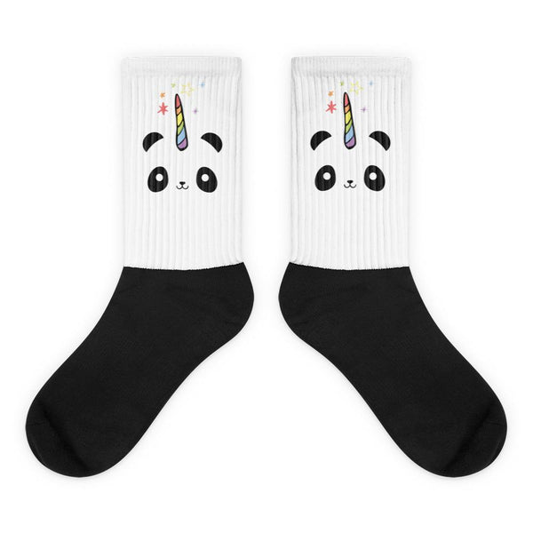 Pandacorn Socks - Magical Kawaii Panda Unicorn Rainbow Horn & Stars Cuteness Graphic T-Shirt Tee BOXELS