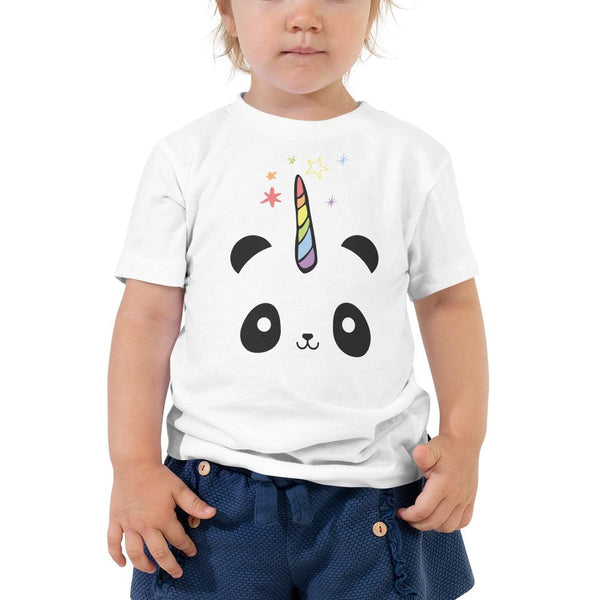 Pandacorn Toddler Short Sleeve Tee - Magical Kawaii Cuteness Panda Unicorn Stars Graphic T-Shirt Tee BOXELS