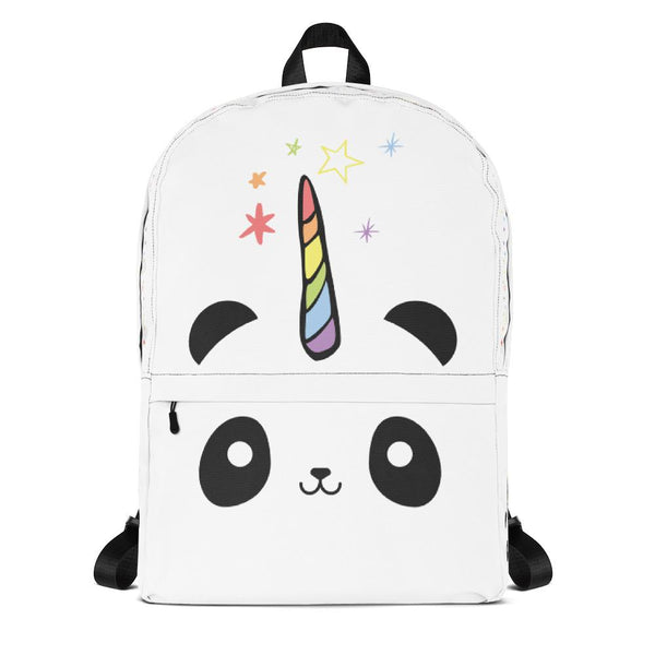 Pandacorn White Backpack - Magical Kawaii Panda Unicorn Rainbow Horn & Stars Cuteness Graphic T-Shirt Tee BOXELS