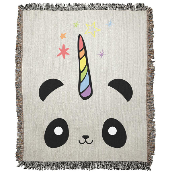 Pandacorn Woven Blankets - Magical Kawaii Panda Unicorn Rainbow Horn & Stars Cuteness Graphic T-Shirt Tee BOXELS