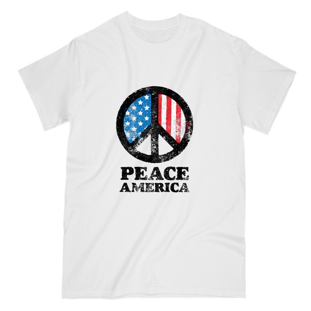 PEACE America Flag Patriotic Graphic T-Shirt Graphic T-Shirt Tee BOXELS