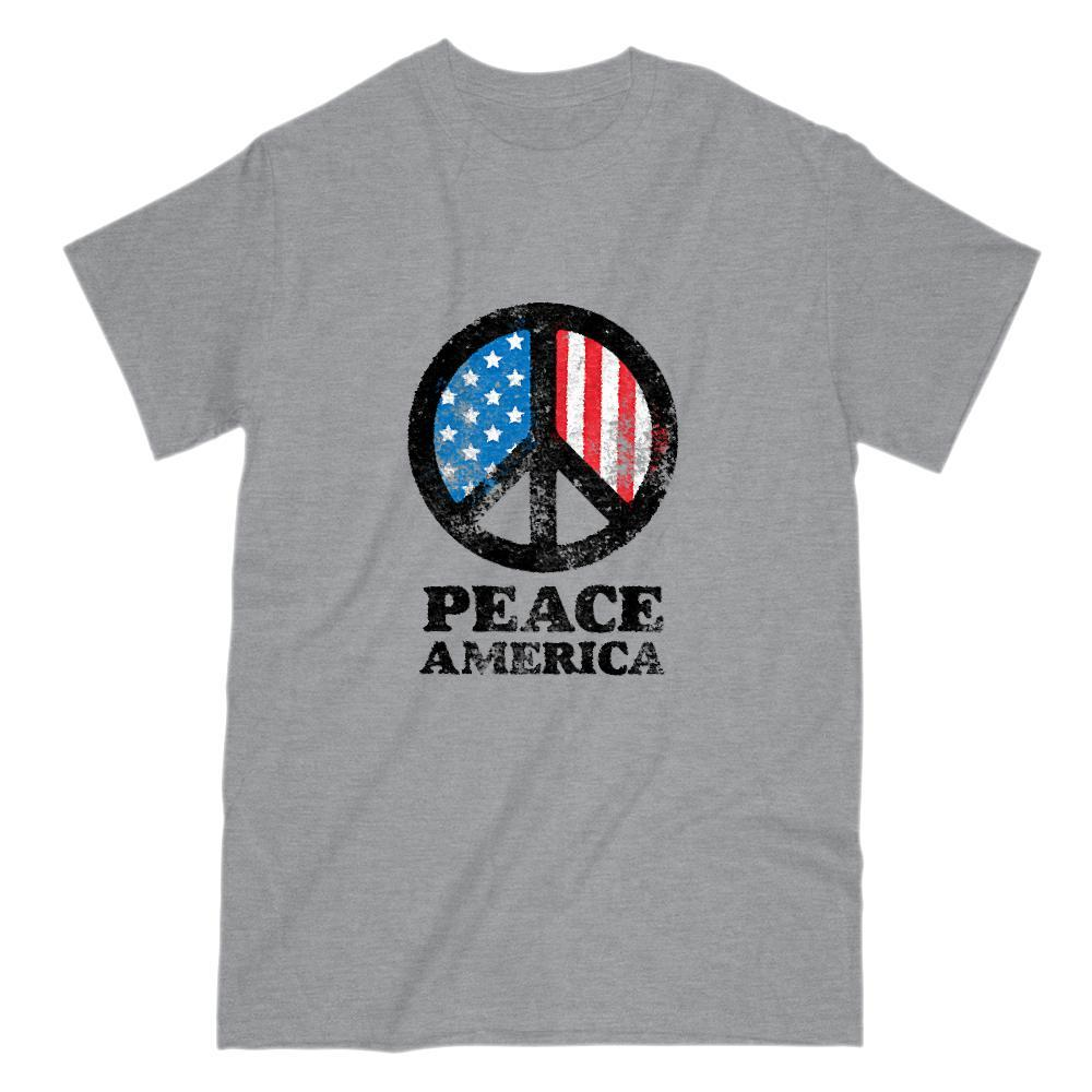 PEACE America Flag Patriotic Graphic T-Shirt