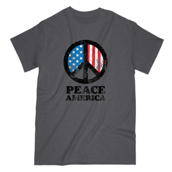 Peace Sign America Patriotic v2 Tee Graphic T-Shirt Tee BOXELS