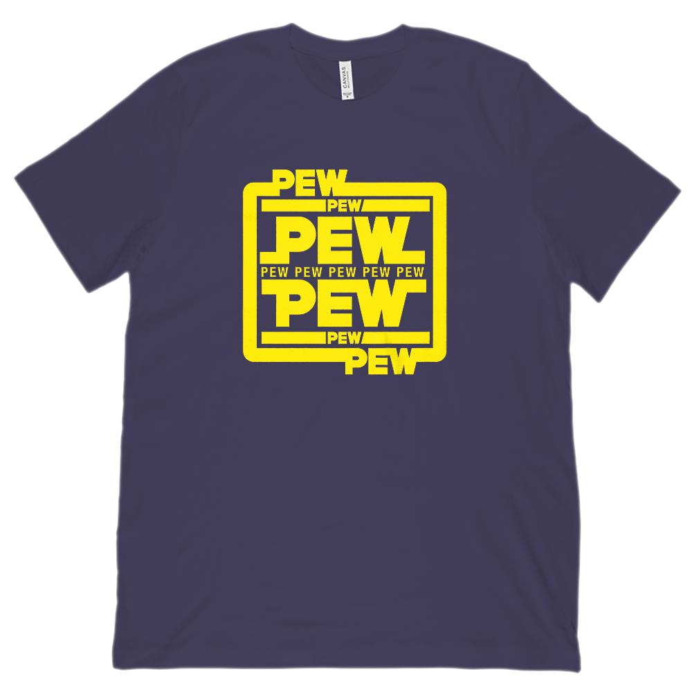 Pew Pew Pew Star Space Wars Funny Graphic (Bella Canvas 3001 Unisex Soft Tee) Graphic T-Shirt Tee BOXELS