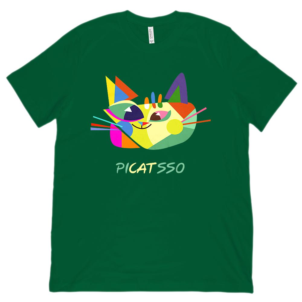 Picatsso Picasso Cat Painting Art (Unisex BC 3001 Soft Tee) Graphic T-Shirt Tee BOXELS