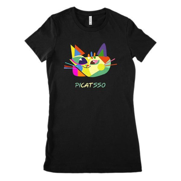 Picatsso Picasso Cat Painting Art (Women's BC 6004 Soft Tee) Graphic T-Shirt Tee BOXELS