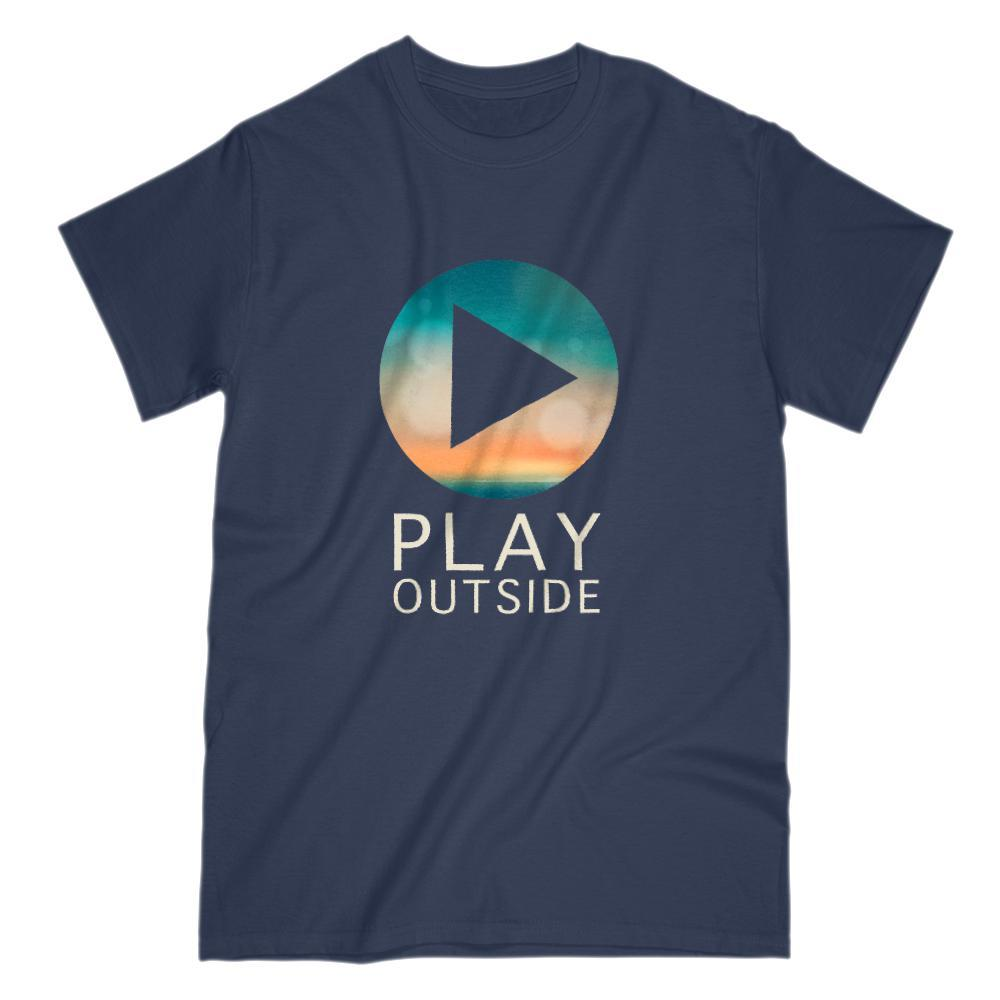 Play Outside Button Sky Horizon Sunset Graphic Tee Graphic T-Shirt Tee BOXELS