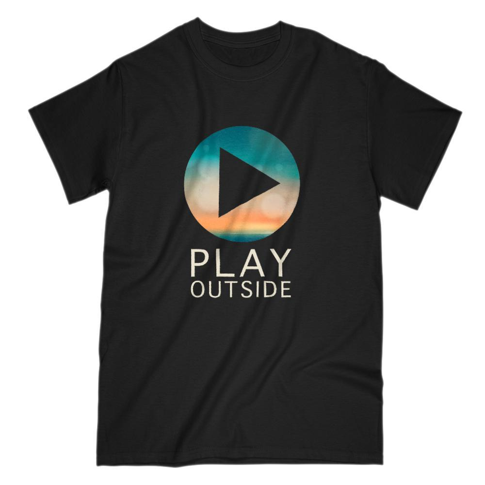 Play Outside Button Sky Horizon Sunset Graphic Tee