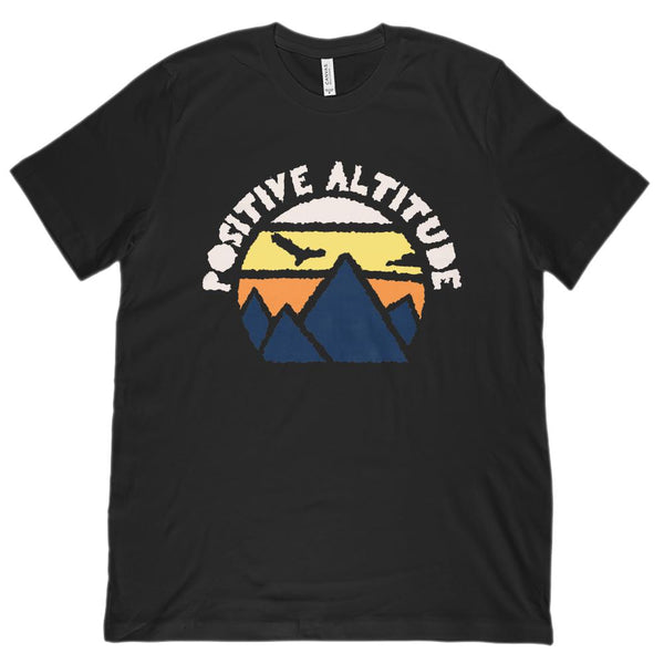 POSITIVE ALTITUDE Mountain Sunset Outdoor (unisex BC 3001 Soft Tee) Graphic T-Shirt Tee BOXELS