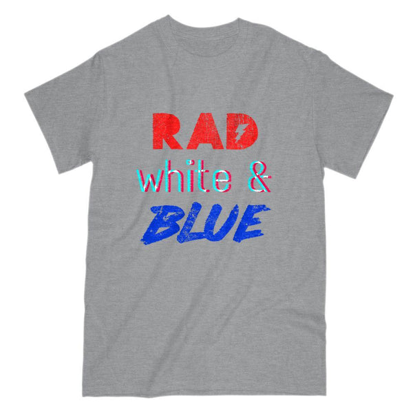 Rad White & Blue 80s Vintage Retro 3D Font Patriotic Graphic T-Shirt Graphic T-Shirt Tee BOXELS