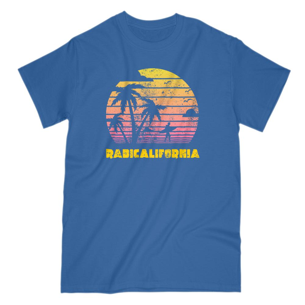 RadiCalifornia Palm Tree Surfing Sunset Outdoor Tee Graphic T-Shirt Tee BOXELS