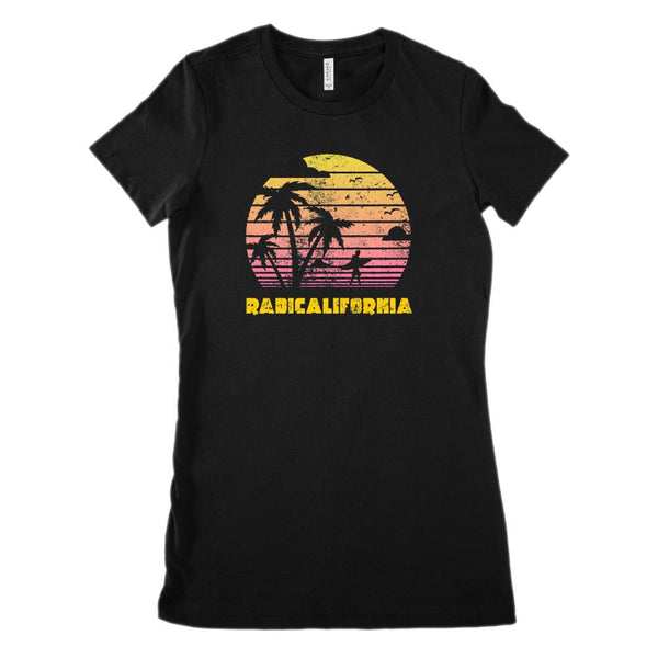 Radicalifornia Sunset Beach (women's BC 6004 Soft Tee) Graphic T-Shirt Tee BOXELS