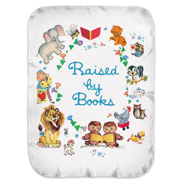 Raised By Books Vintage Swaddle Blankets Graphic T-Shirt Tee BOXELS
