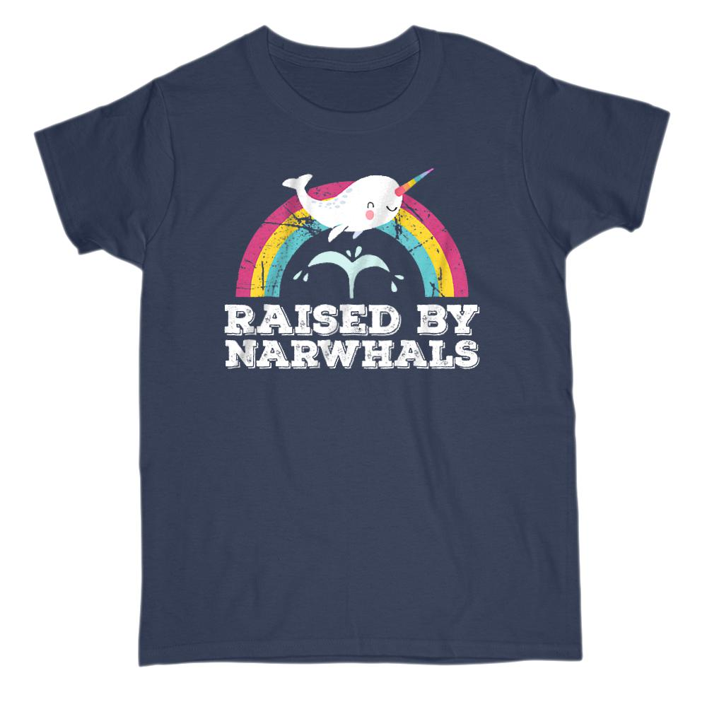 Raised by Narwhals Happy Rainbow (adults) Graphic T-Shirt Tee BOXELS