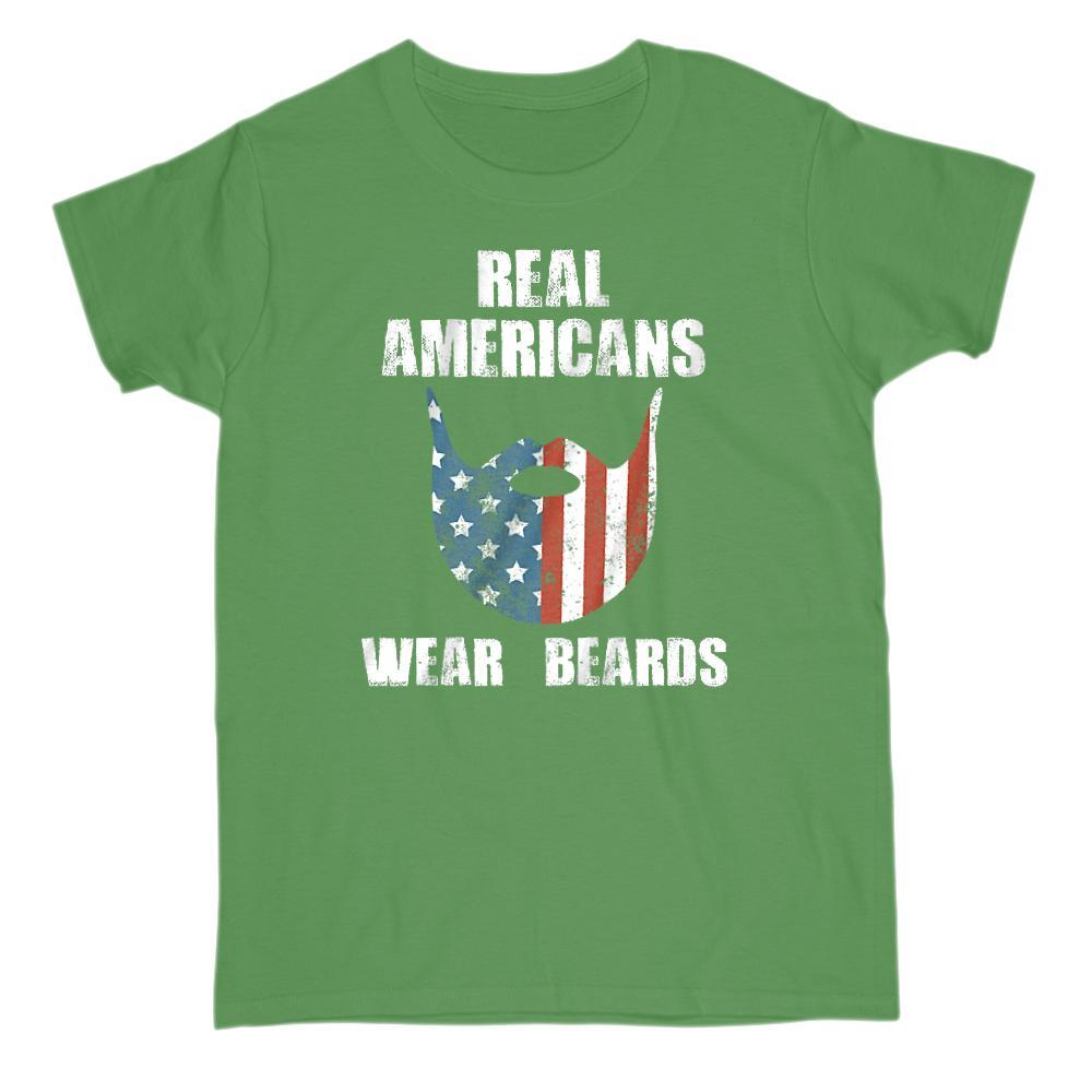 Real Americans Wear Beards Patriotic Flag T-shirt Graphic T-Shirt Tee BOXELS