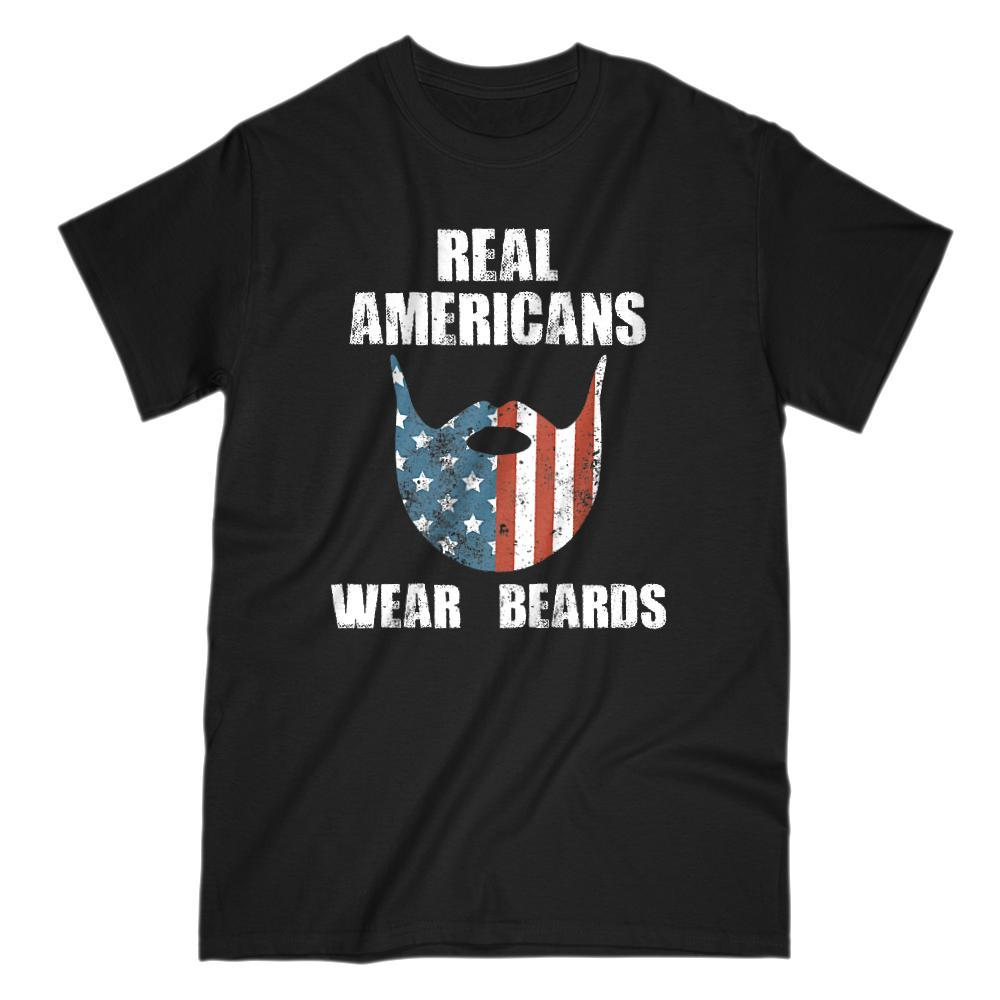 Real Americans Wear Beards Patriotic Flag T-shirt