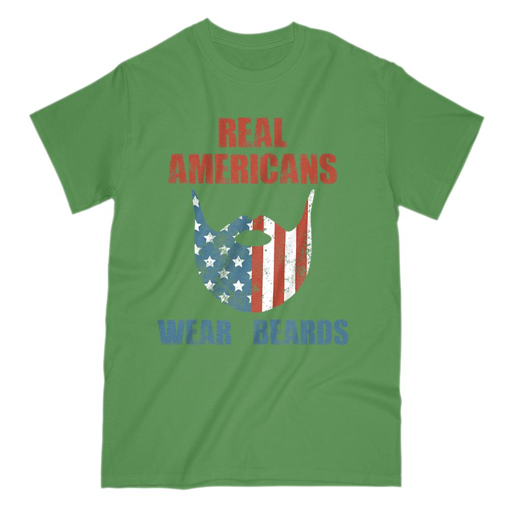 Real Americans Wear Beards Red White Blue Patriotic Flag T-shirt Graphic T-Shirt Tee BOXELS
