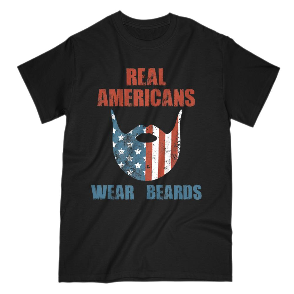 Real Americans Wear Beards Red White Blue Patriotic Flag T-shirt