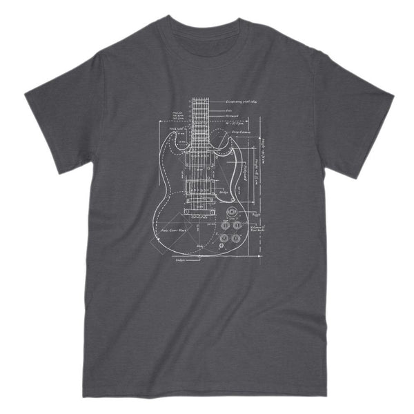 Retro Vintage Patent Blue Print Guitar Design Tee Graphic T-Shirt Tee BOXELS