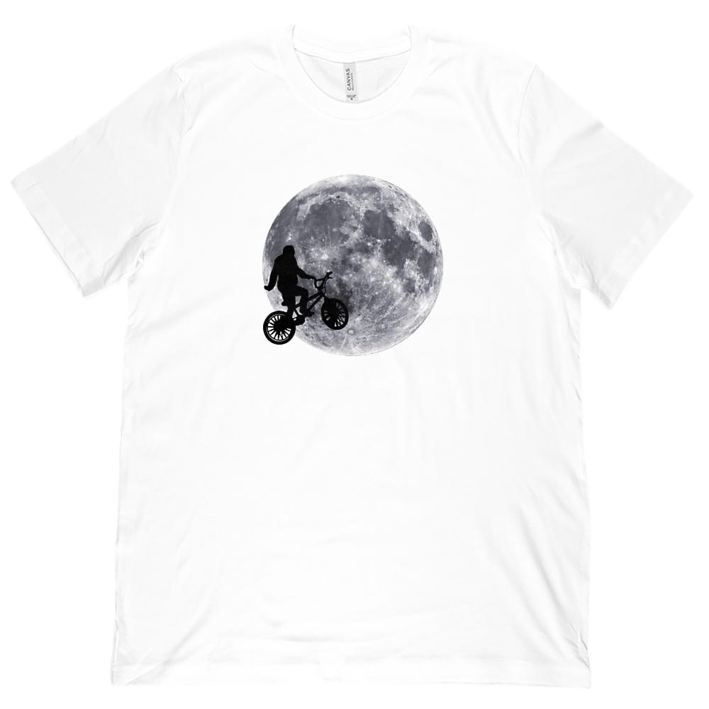 Sasquatch Moon E.T. Parody Believe (Unisex BC 3001 Soft Tee) Graphic T-Shirt Tee BOXELS