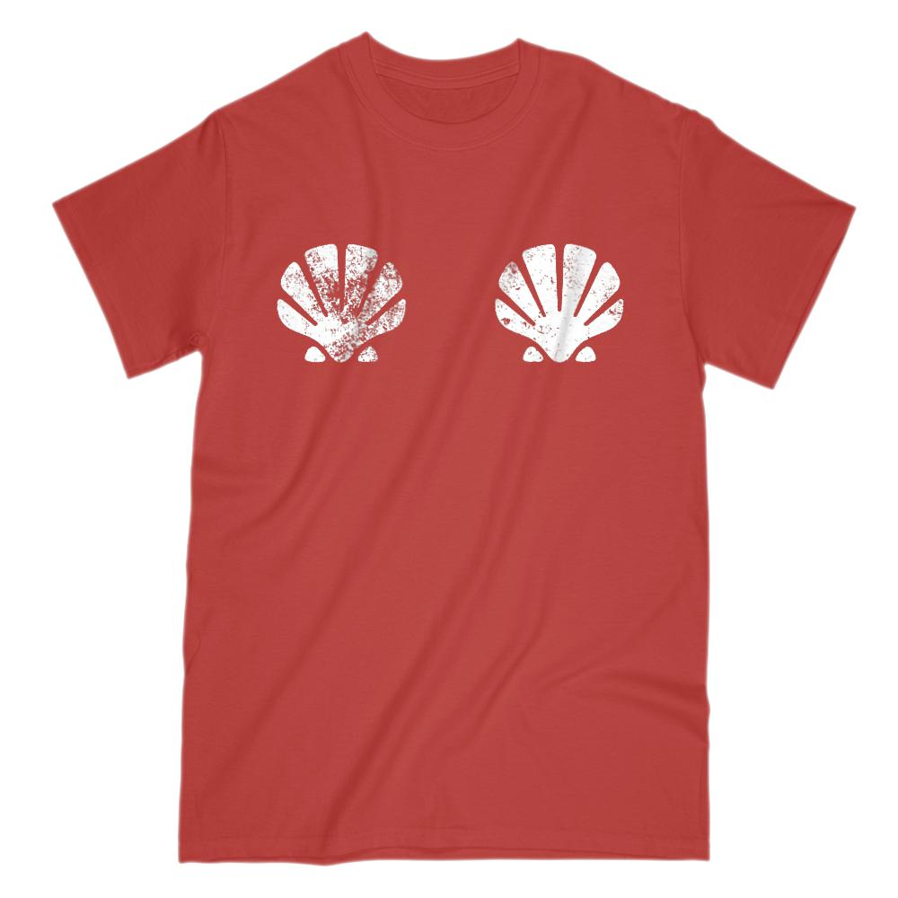 Sea Shells Covering Chest (mens unisex) Graphic T-Shirt Tee BOXELS
