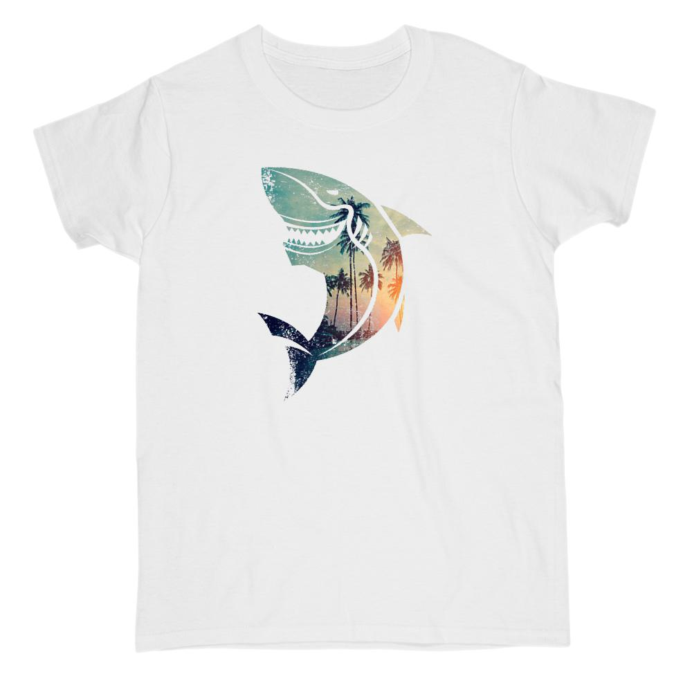 Shark Beach Picturesque Vacation Travel Beach (women) Tee Graphic T-Shirt Tee BOXELS