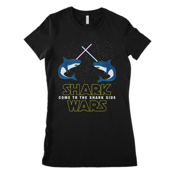 Shark Wars Come to the Shark Side Star Space (Women's BC 6004 Soft Tee) Graphic T-Shirt Tee BOXELS