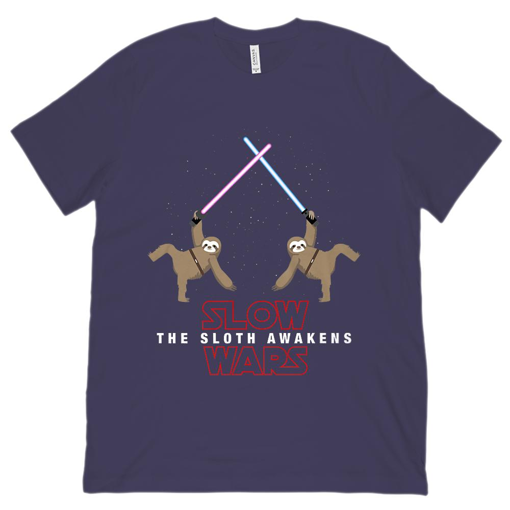 Slow Wars The Sloth Awakens Space Star (Unisex Bella Canvas 3001 Soft Tee) Graphic T-Shirt Tee BOXELS