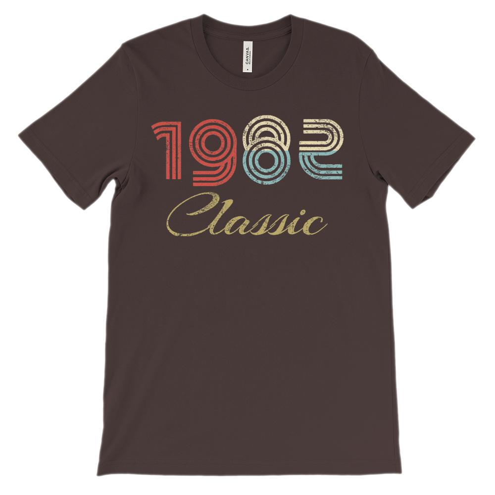 (Soft BC 3001 Tee Darks) Made in 1982 Classic 1 Year Retro Graphic T-Shirt Tee BOXELS