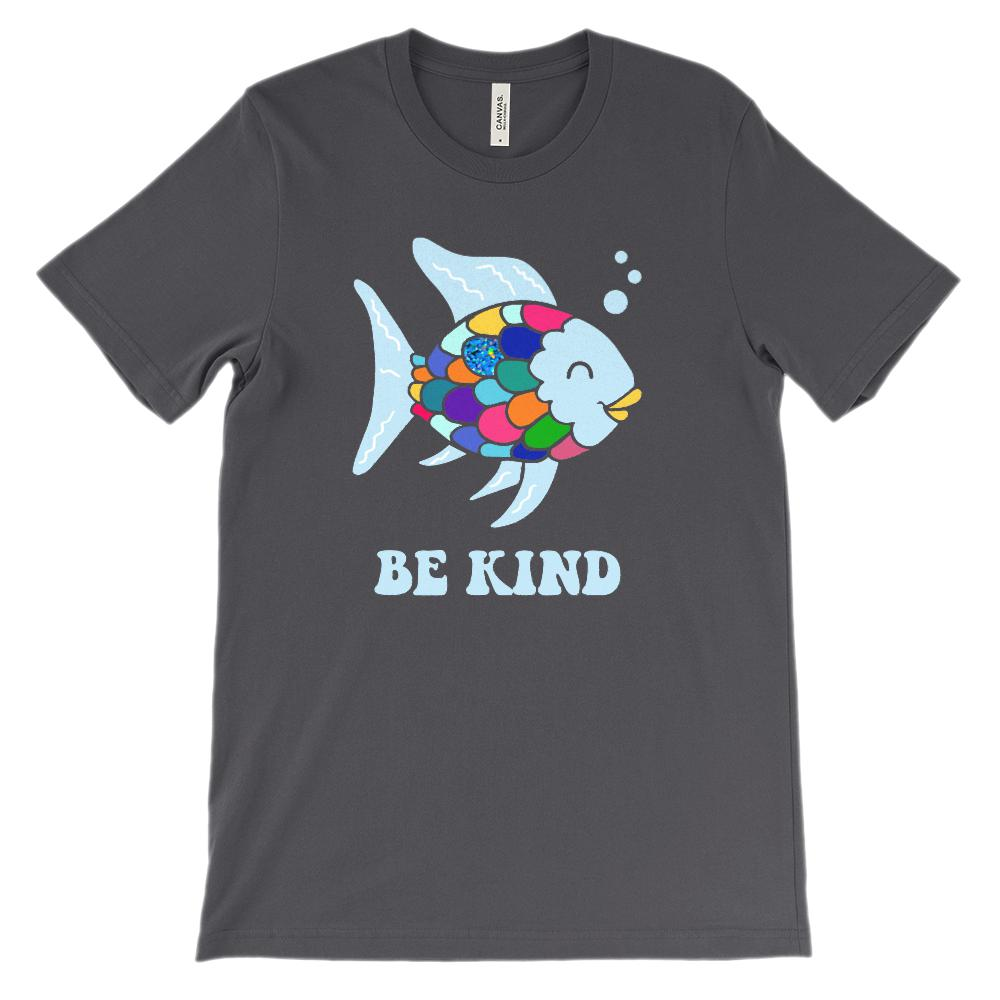 (Soft BC 3001 Unisex - Darks) Be Kind Fish Parody Reading Children's Books Graphic T-Shirt Tee BOXELS