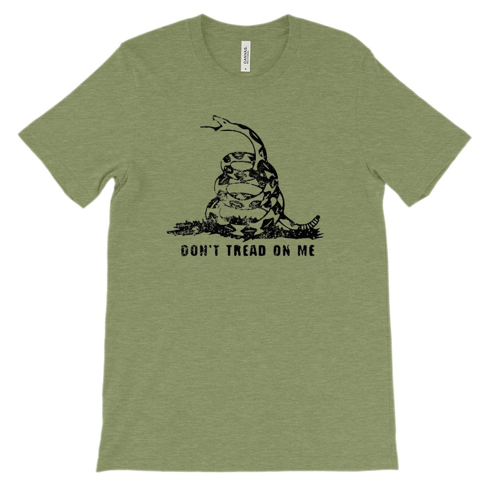 (Soft BC 3001 Unisex) Don't Tread on Me Snake (black) Graphic T-Shirt Tee BOXELS