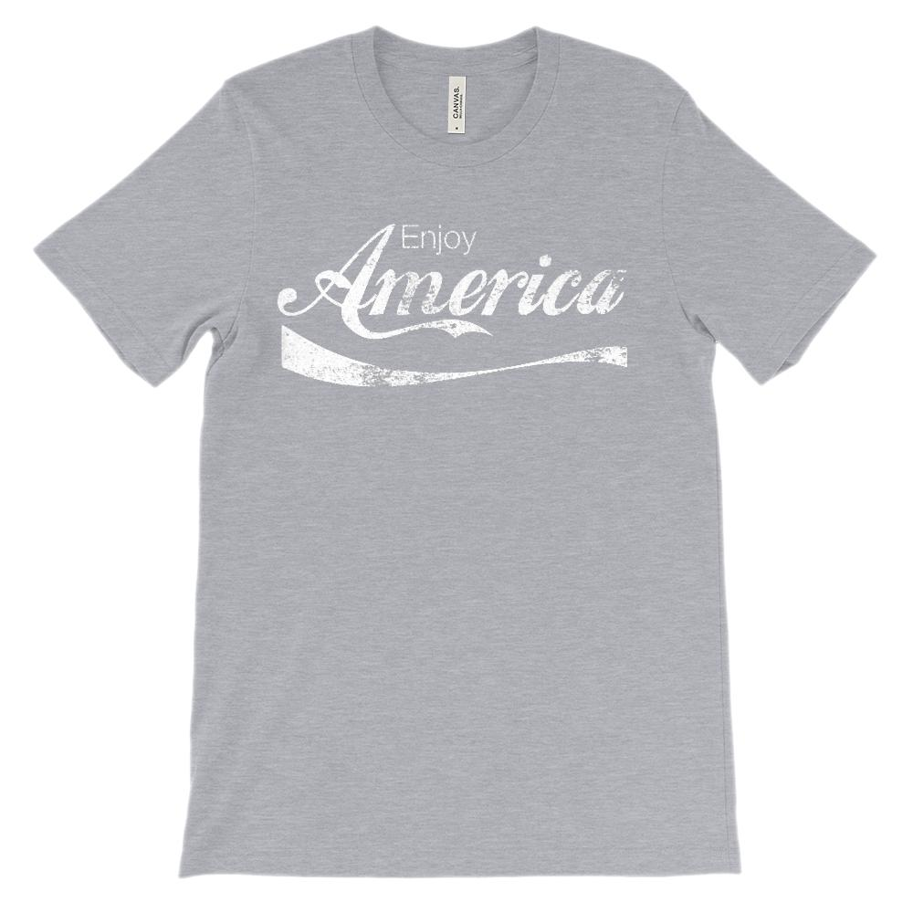 (Soft BC 3001 Unisex) enjoy America Refreshing Drink Parody (white) Graphic T-Shirt Tee BOXELS