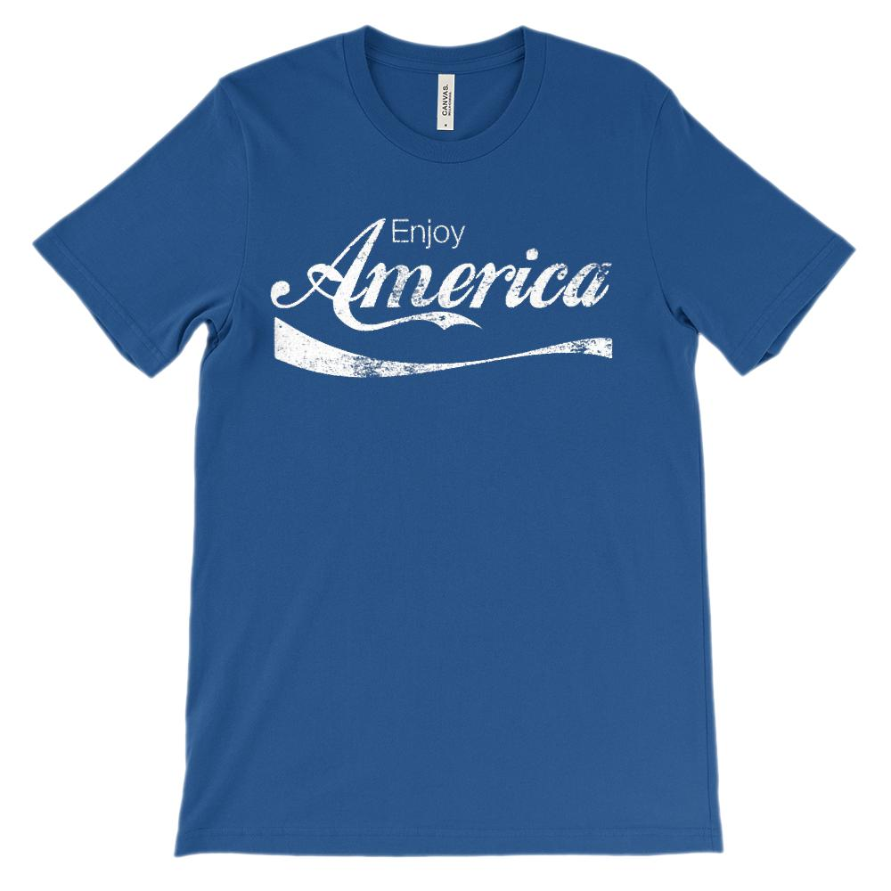 (Soft BC 3001 Unisex) enjoy America Refreshing Drink Parody (white)