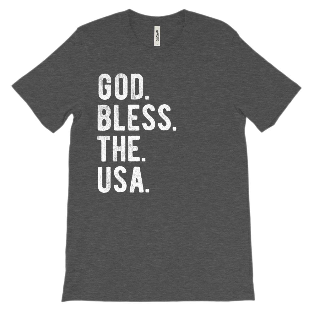 (Soft BC 3001 Unisex) God. Bless. The. USA. (white) Graphic T-Shirt Tee BOXELS