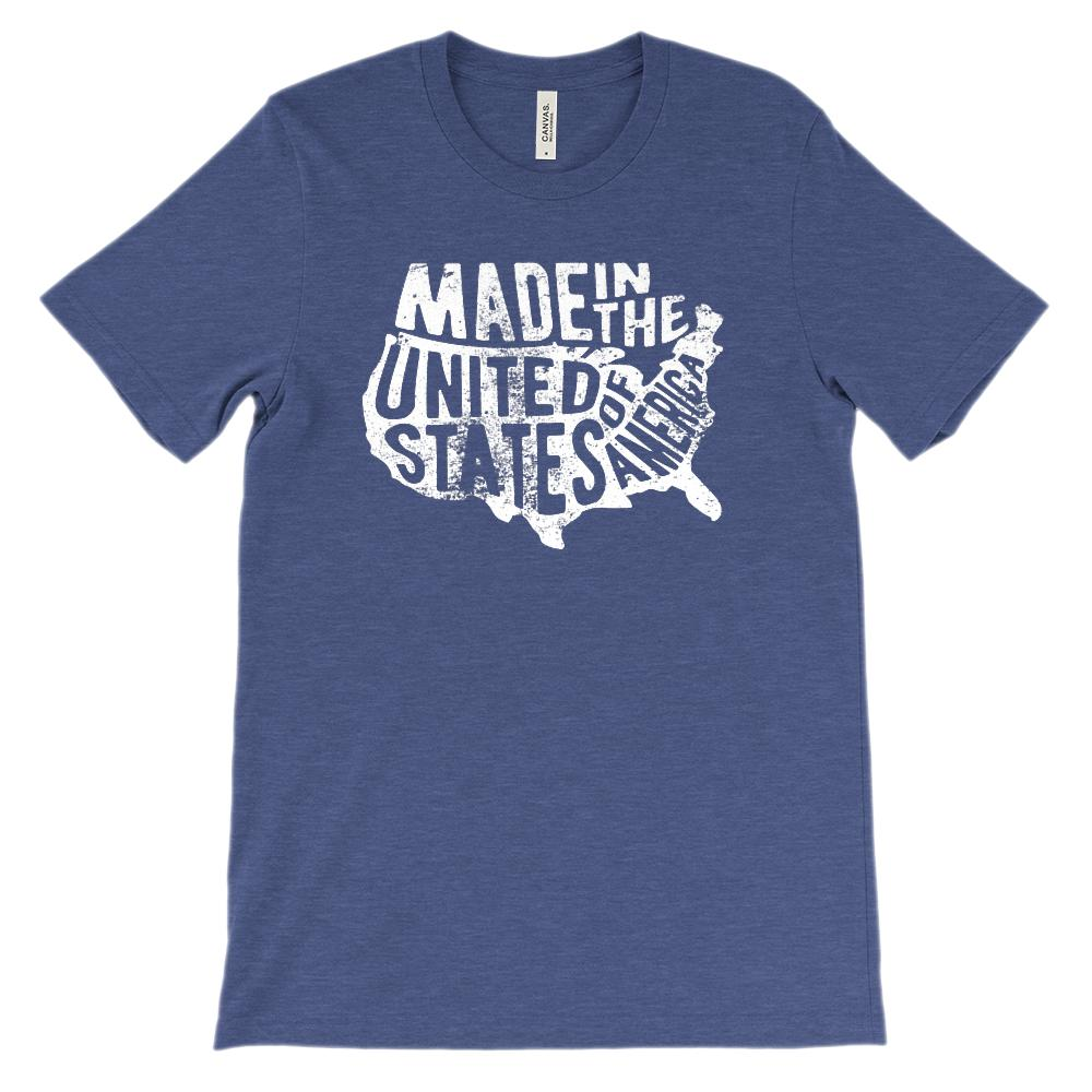 (Soft BC 3001 Unisex) Made in the United States of America Map (white) Graphic T-Shirt Tee BOXELS