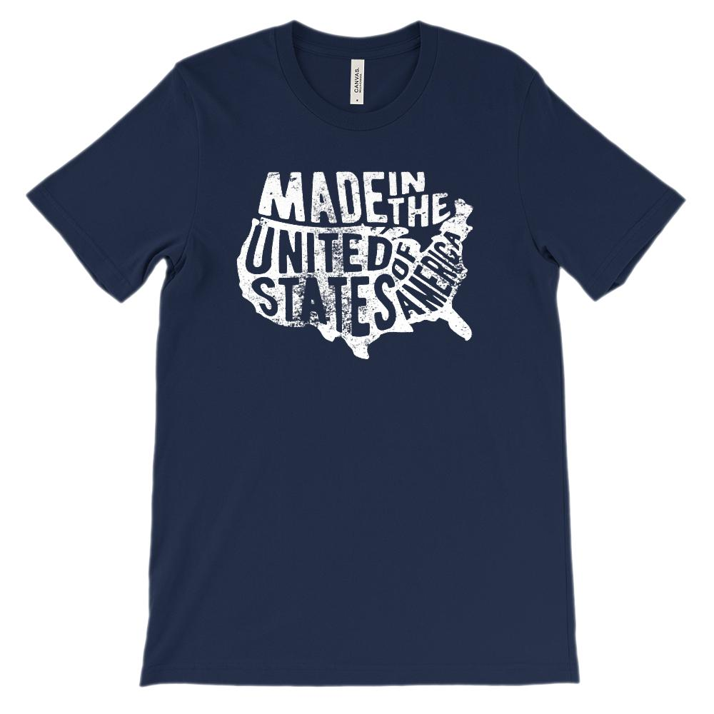 (Soft BC 3001 Unisex) Made in the United States of America Map (white)