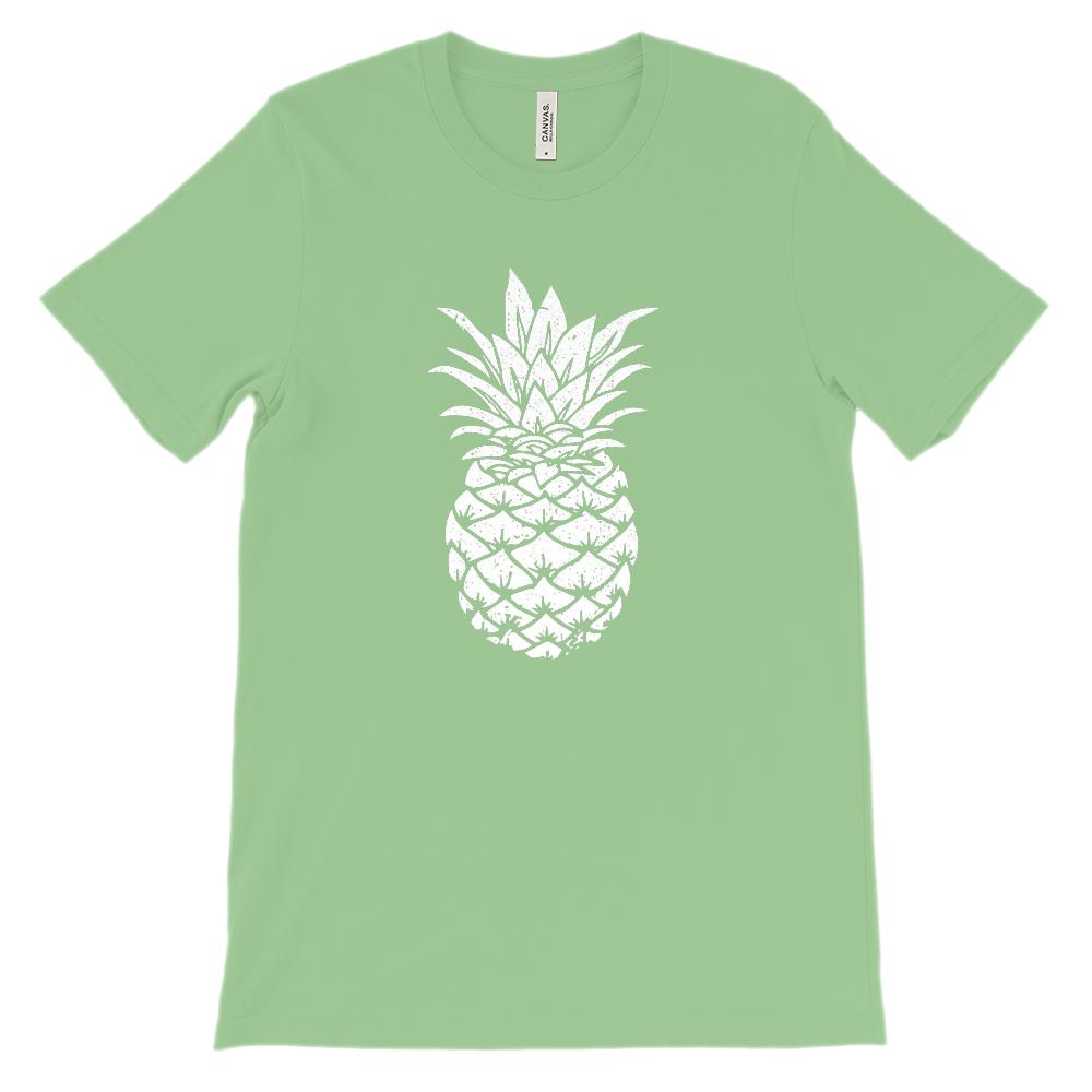 (Soft BC 3001 Unisex) Pineapple Silhouette (white) Graphic T-Shirt Tee BOXELS