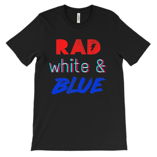 (Soft BC 3001 Unisex) Rad White & Blue Graphic T-Shirt Tee BOXELS