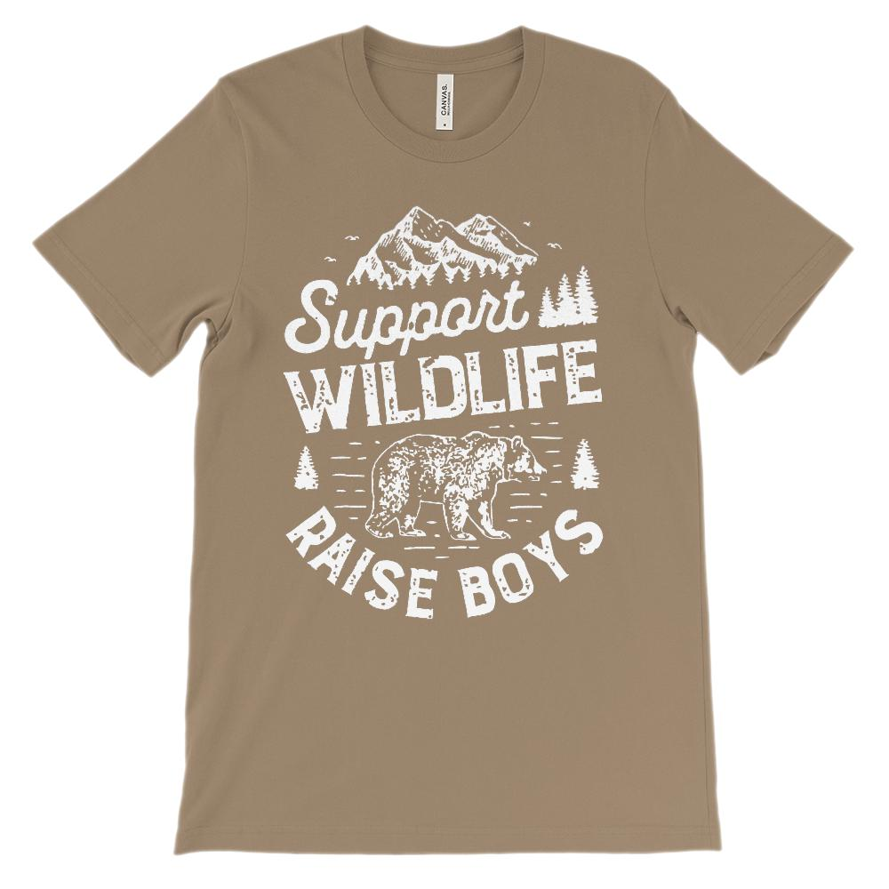 (Soft BC 3001 Unisex) Support Wildlife Raise Boys (white) Graphic T-Shirt Tee BOXELS